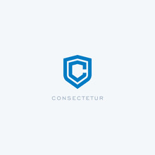 Abstract Linear Letter Initial C Shield  Logo Icon Design Modern Minimal Style Illustration Vector.