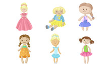 Set Of Rag Dolls In Dresses. Vector Illustration.