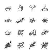 Spice, Condiment And Herb Icon...