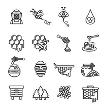 Bee And Honey Icons Set With White Background. Thin Line Style Stock.