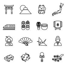 Japanese Theme Icon Set With W...