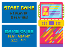Vintage Arcades, Colorful Retro Pixel Game Machines. Pixelated Text Game Over Or Start On Screen, Choose Number Of Players, Play Again Option. Vector Illustration In Flat Cartoon Style