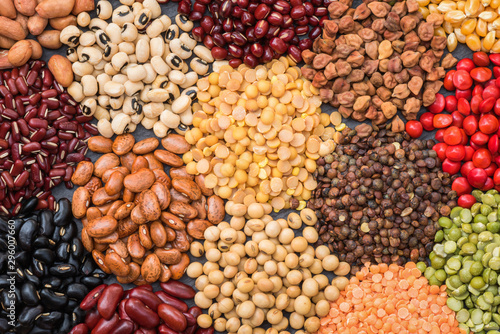 Cuadros en Lienzo Multicolor dried legumes for background, Different dry bean for eating healthy