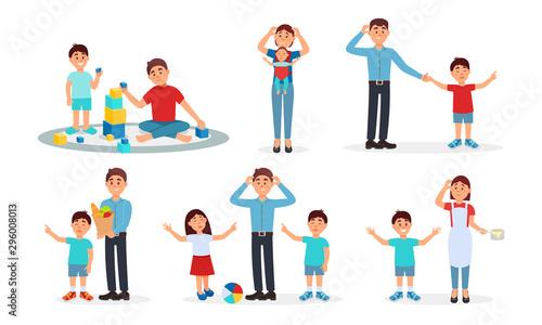 Parenting Lifestyle Vector Illustrations Wallpaper Mural