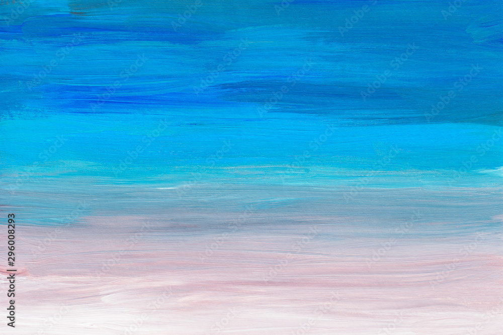 Fototapety, obrazy: Abstract multicolored art painting background texture. Blue, turquoise, pink and white abstraction