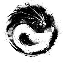 Yin Yang With Dragon Is Drawn In Ink With Black Blotches And Splashes . 2D Illustration .