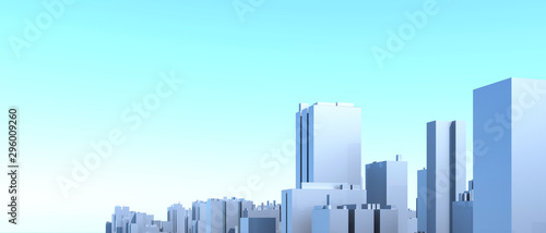 Foto auf Gartenposter Licht blau City Urban, 3D panorama on blue sky. Architectural render illustration. Apartment rental - advertising promotion banner. Office business center environment. High-rise skyscrapers - rental estate city