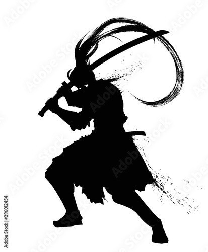 Fotografie, Obraz The silhouette of a sinister samurai with a sword long tail and glowing eyes
