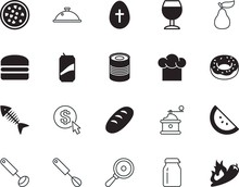 Food Vector Icon Set Such As: Refreshment, Advertising, Burn, Hot, Spice, Sugar, Easter, Preserve, Conservation, Dining, Tin, Drawn, Media, Cooker, Italy, Grinder, Flames, Tray, Cheese, Aluminum