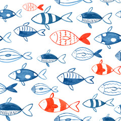 Seamless Watercolor Hand Drawn Blue and Red Sea Fishes Pattern. Painted Fish on a White Background.