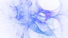 Abstract Blue Glowing Shapes. Fantasy Light Background. Digital Fractal Art. 3d Rendering.