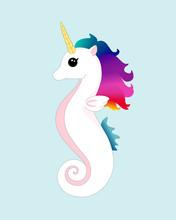 Rainbow Unicorn Seahorse Vector Character Illustration. Isolated White Mermaid Unicorn.