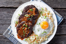Loco Moco On A White Plate, To...