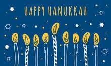 Hanukkah Greeting Template. Nine Candles And Wishing. Hand Drawn Sketch Illustration
