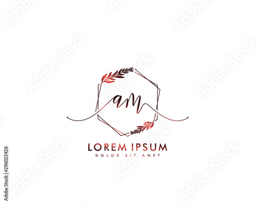 Fotografía  Initial letter AM beauty handwriting logo vector