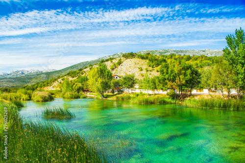 Keuken foto achterwand Blauwe hemel Beautiful nature landscape, Zrmanja river in Muskovci in Croatia