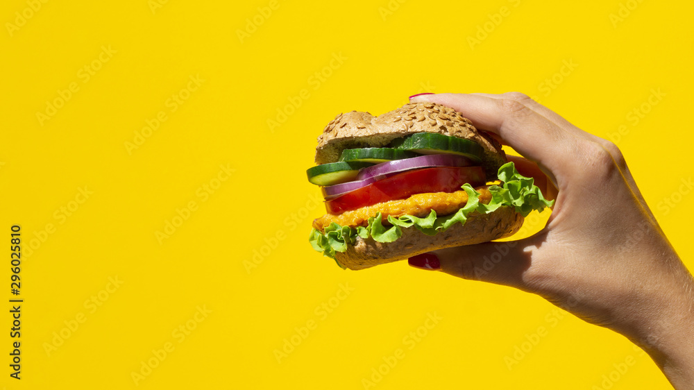 Fototapety, obrazy: Fresh burger delicious with meat and veggie and copy-space