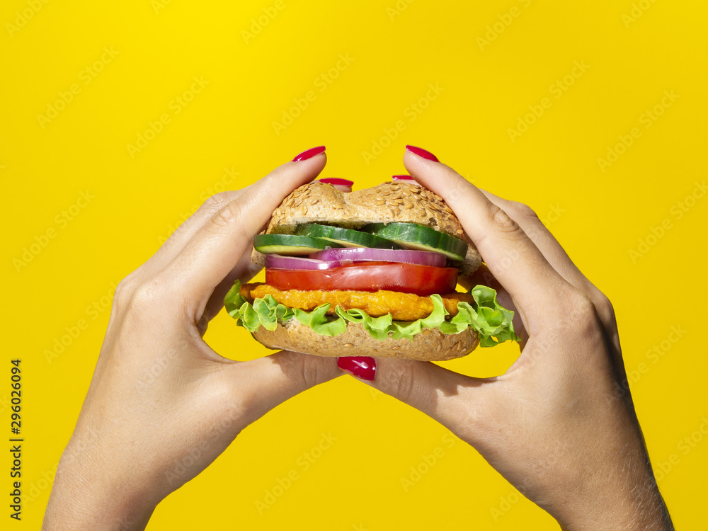 Fototapety, obrazy: Close up view tasty burger on yellow background