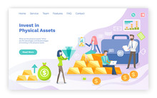 Investing In Physical Assets Vector, Woman Holding Diamond, Precious Stone And Gold Bars Of Investors. Man Working On Laptop Looking At Stats. Website Or Webpage Template, Landing Page Flat Style