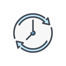 Refresh Time Color Line Icon. Update Clock Vector Outline Colorful Sign.