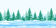 Winter Nature Landscape With Spruce Trees Covered With Snow Tillable Horizontally, Beautiful Winter Day On Snowy Path Through The Forest, Spruce Trees In The Snowstorms