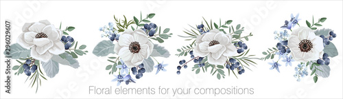 Photo Vector floral set with leaves and flowers