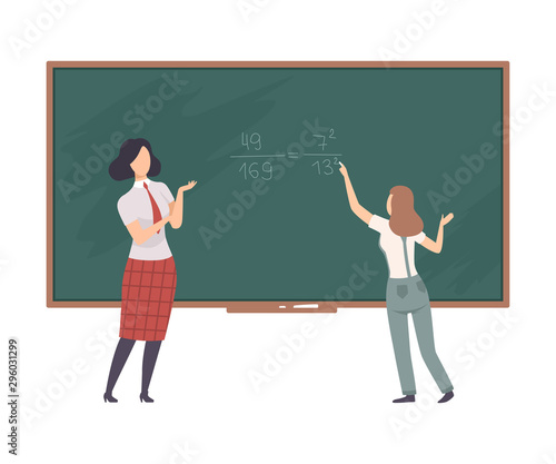 Student solve equation on blackboard with the help of teacher vector illustratio Canvas Print