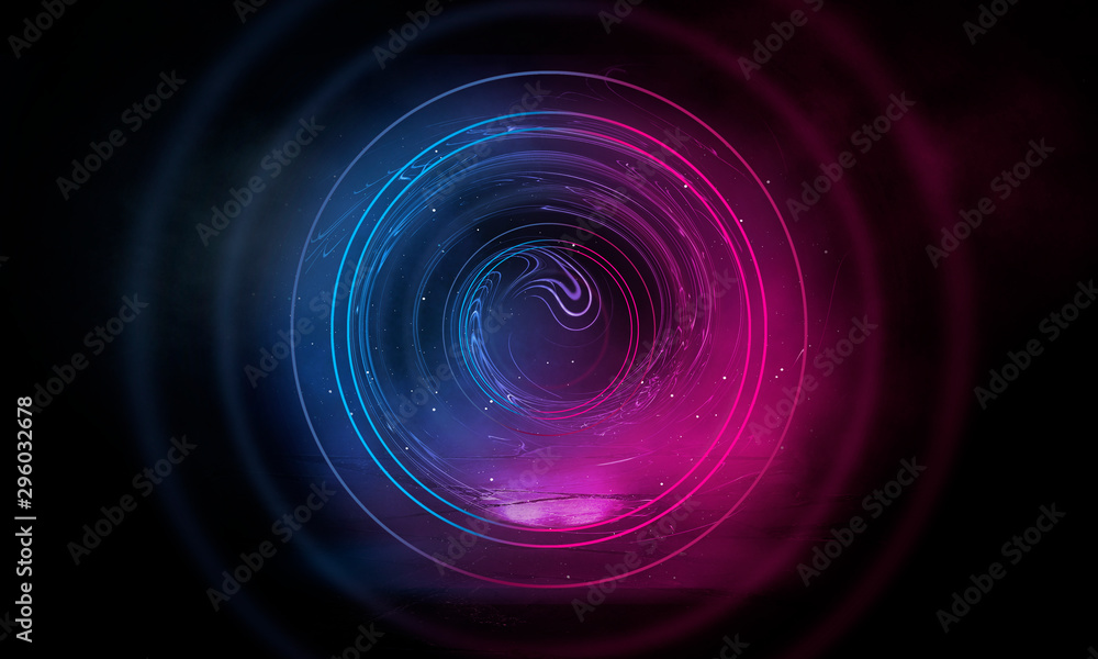 Fototapety, obrazy: Neon circle on a dark street background, wet asphalt. Blue neon, smoke, smog. Night view of a street with neon. Abstract neon dark background.
