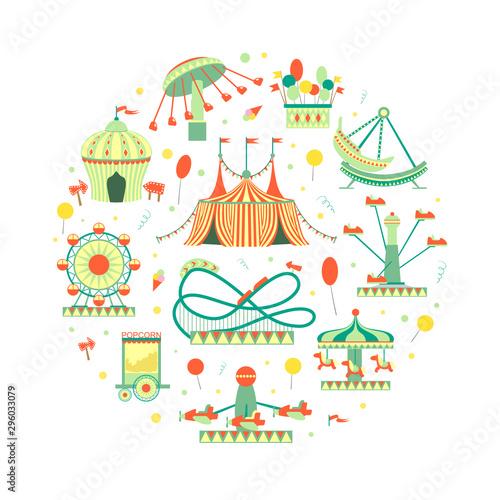 Foto Amusement Park Elements of Circular Shape, Funfair with Carousels, Festive Park