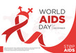 World AIDS Day letter design with red ribbon on the white background