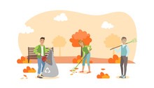 People Volunteers Cleaning Up Autumn Leaves In The City Park Vector Illustration