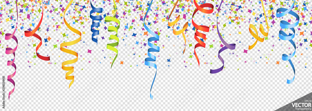 Fototapeta confetti and streamers party background