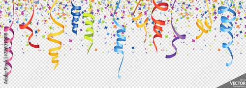 Obraz confetti and streamers party background - fototapety do salonu
