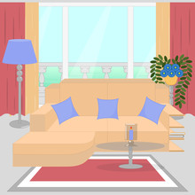 Cute Living Room Interior Design With Furniture, Big Window, Balcony, Vase With Flowers, Candle. Modern Interior.