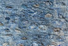 Facade Walls Cobblestone Old Vintage Background Blue