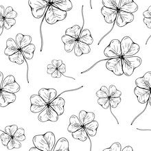 Clover Pattern. Hand Drawn Fou...