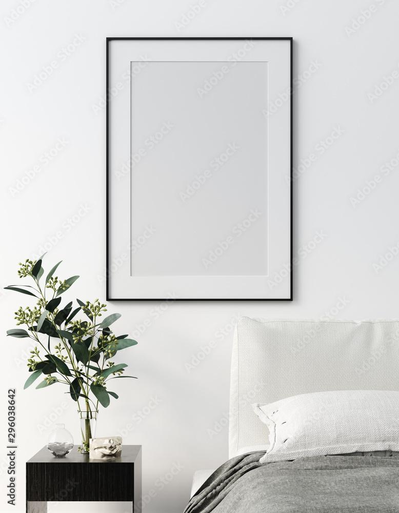 Fototapety, obrazy: Mock up frame, wall in bedroom interior, Scandinavian style, 3d render