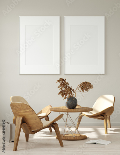 Mock up poster frame in modern living room interior. Interior Scandinavian style. 3d render - 296038662