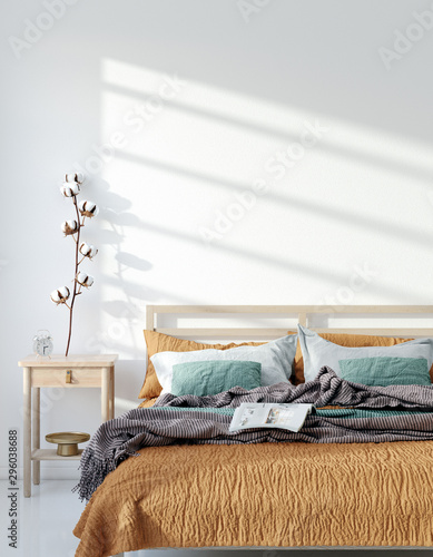 Mock up frame, wall in home interior background, Bohemian bedroom, Scandinavian style, 3d render - 296038688