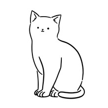 Cute White Cat Sitting, Line A...