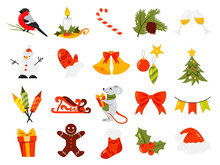 Christmas Set. Collection Of Cute Winter Holiday Decoration.