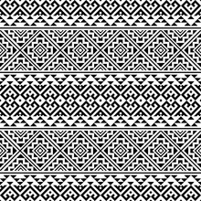 Vector Ethnic Seamless Pattern Black White Color, Abstract Geometric Background Illustration, Fabric Textile Pattern