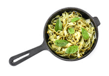 Frying Pan With Tasty Pasta On White Background