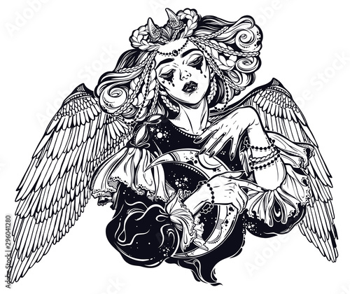 Obraz na plátně Beautiful pagan magic winged and horned goddess Lilith with crescent in her hands