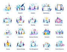 Business People Work In Team Big Set. Collection Of Creative