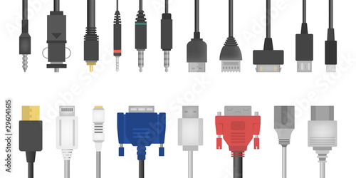Cable wire set. Collection of audio and video connector. Wallpaper Mural