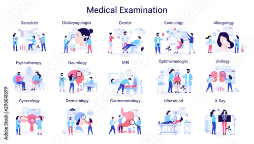 Leinwand Poster  Doctor and medicine big set. Collection of medical examination