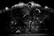 Soccer Player On Black Backgro...