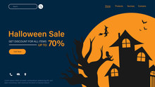 Happy Halloween Sale With Smartphone Show E-commerce Payment For Website. Big Sale Halloween Holiday Event. Flash Sale On Halloween. Halloween Vector Illustration