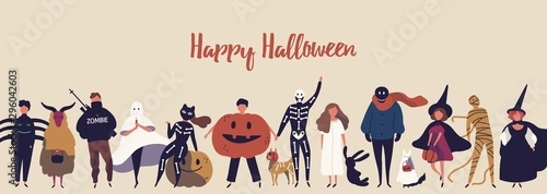 Fotografija Happy halloween flat banner vector template